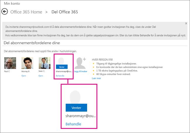 Skjermbilde av siden Del Office 365 med en ventende delt abonnement-bruker valgt.