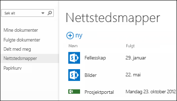 Velg områdemapper på hurtighandlingslinjen i Office 365 for å se listen over SharePoint Online-områder du følger.