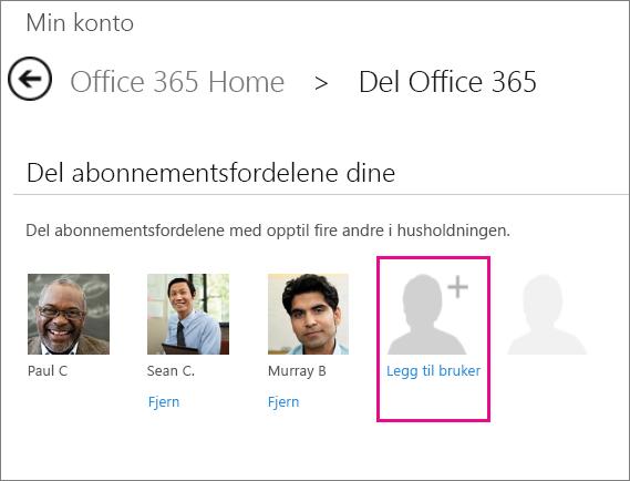 Skjermbilde av siden Del Office 365 med alternativet Legg til bruker valgt.