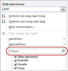 Zoekvak in filterlijst