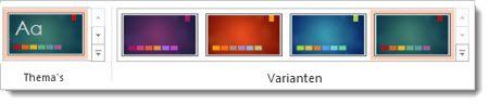 Tabblad Ontwerpen: thema's met varianten