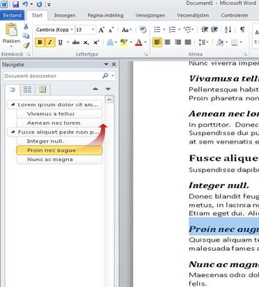 navigatie door document