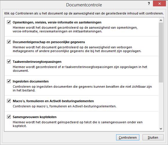 De opties in het dialoogvenster Documentcontrole worden weergegeven