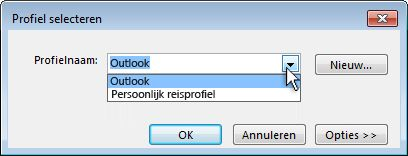 Dialoogvenster Outlook-profiel kiezen
