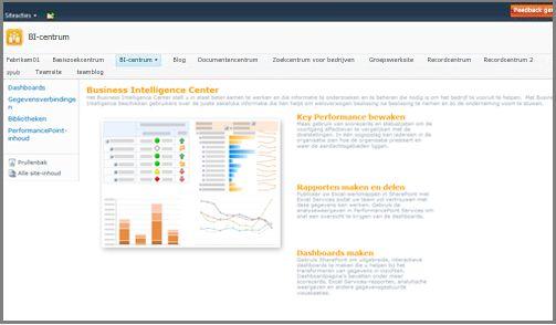 Het Business Intelligence Center is geoptimaliseerd voor de opslag van elementen voor bedrijfsinformatie
