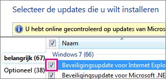Een update selecteren