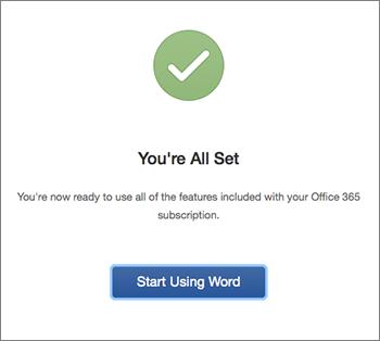 Scherm met de mededeling dat de voorbereidingen klaar zijn en de knop Aan de slag met Excel