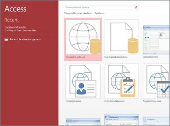 Het welkomstscherm van Access waarin het zoekvak voor sjablonen en de knoppen Aangepaste webapp en Lege bureaubladdatabase worden weergegeven.