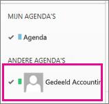 Outlook Web App met de agenda van een gedeeld postvak geselecteerd