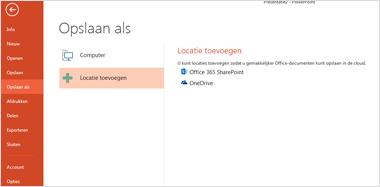 OneDrive toevoegen als locatie
