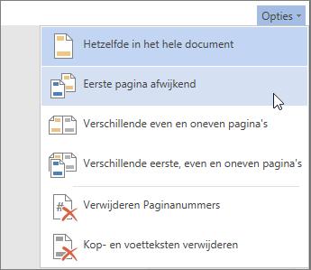 Menu Opties voor koptekst en voettekst in Word Online