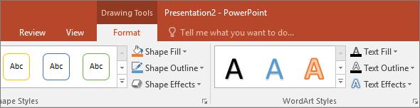 Toont het tabblad Hulpmiddelen voor tekenen op het lint in PowerPoint