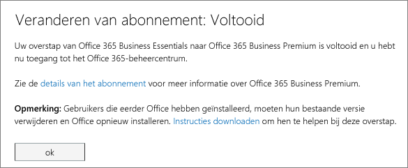 Lijst met producten en services op de aanmeldingspagina van Office 365.