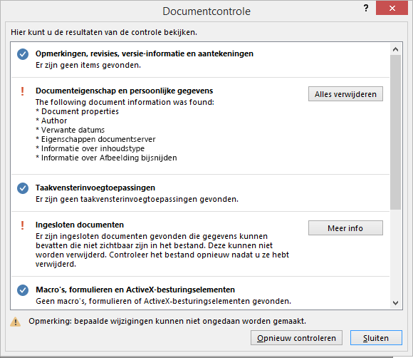 Het dialoogvenster Documentcontrole wordt weergegeven met de optie om alles te verwijderen