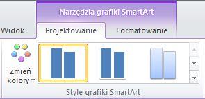 Grupa Style grafiki SmartArt na karcie Projektowane w obszarze Narzędzia grafiki SmartArt