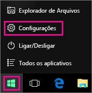 Acessando as Configurações no menu Iniciar do Windows 10