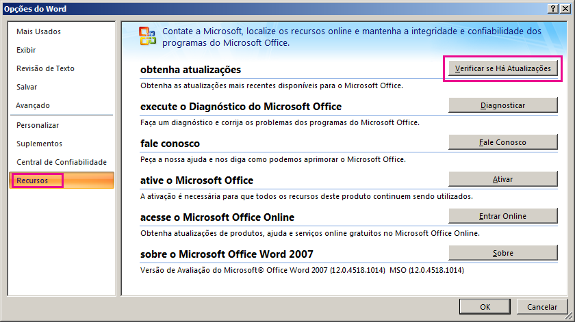 Verificando Atualizações do Office no Word 2007