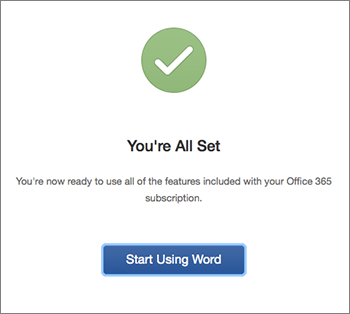 """Tela mostrando """"Tudo pronto"""" com o botão """"Começar a usar o Excel"""""""