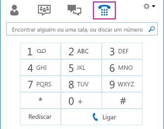 Captura de tela do ícone Telefone mostrando o teclado de discagem que pode ser usado para fazer chamadas