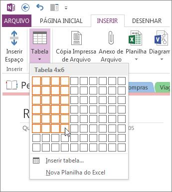 Inserir uma tabela no OneNote.