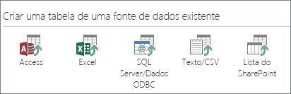 Seleções de fonte de dados: Access; Excel; SQL Server/Dados ODBC; Texto/CSV; Lista do SharePoint.