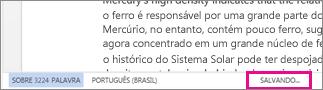 Barra de status no Word Online