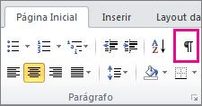 Na guia Início, clique no símbolo do caractere oculto.