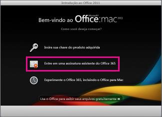 Página inicial de instalação do Office para Mac em que você entra com uma assinatura existente do Office 365.