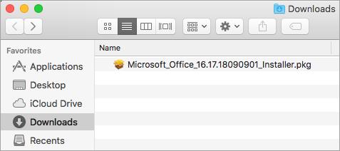 O ícone Downloads no Dock mostra o pacote do instalador do Office 365