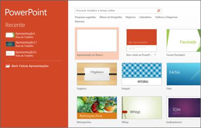 Tela inicial do PowerPoint 2013