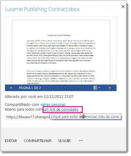 Caixa de diálogo Propriedades mostrando que um documento foi compartilhado com um link de convidado.