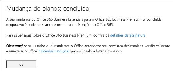 Lista de produtos e serviços na página de inscrição do Office 365.