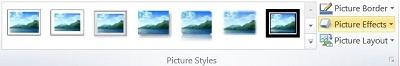 Grupo Estilos de imagem na guia Formatar Ferramentas de Imagens