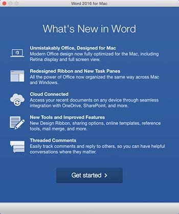 Tela Novidades ao iniciar um aplicativo do Office que você acabou de instalar