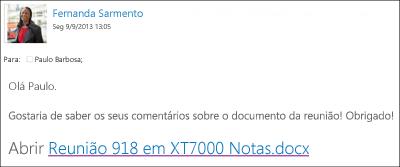 Uma mensagem de e-mail com uma ligação para um documento partilhado