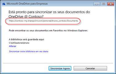 Assistente do OneDrive para Empresas com o URL pré-preenchido