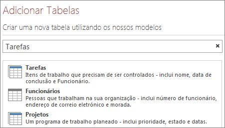 A caixa de pesquisa de modelos de tabelas no ecrã de Boas-vindas do Access.