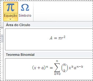 Equações pré-formatadas na lista Equação