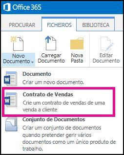 Lista pendente do menu Novo Documento com um tipo de conteúdo Contrato de Vendas.