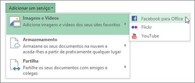 Adicionar um serviço como o Flickr ou o Facebook para Office