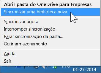 Menu do OneDrive para Empresas na área de notificações do Windows