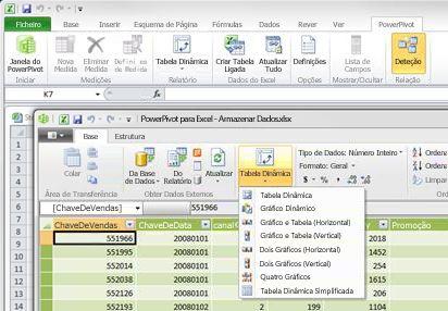 Janela PowerPivot para Excel aberta no Excel 2010