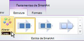 Alterar a cor do gráfico SmartArt.