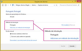 Adicionar Método de Introdução do Office 2016 no Windows 8
