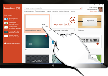 O PowerPoint em diapositivos de toque