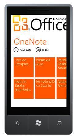 Hub do OneNote Mobile 2010