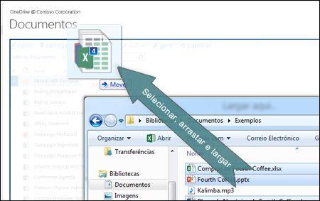 Arrastar e largar para carregar ficheiros para o OneDrive