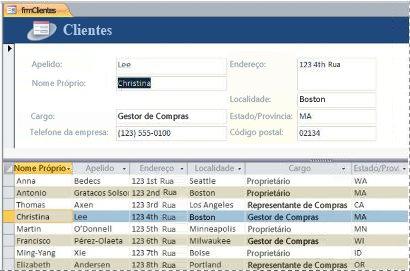 Um formulário dividido numa base de dados de ambiente de trabalho do Access