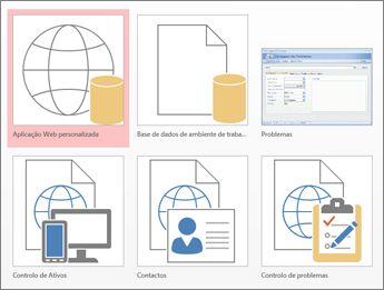 Vista de modelos no ecrã de arranque do Access