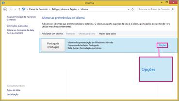 Opções de Método de Introdução do Office 2016 no Windows 8